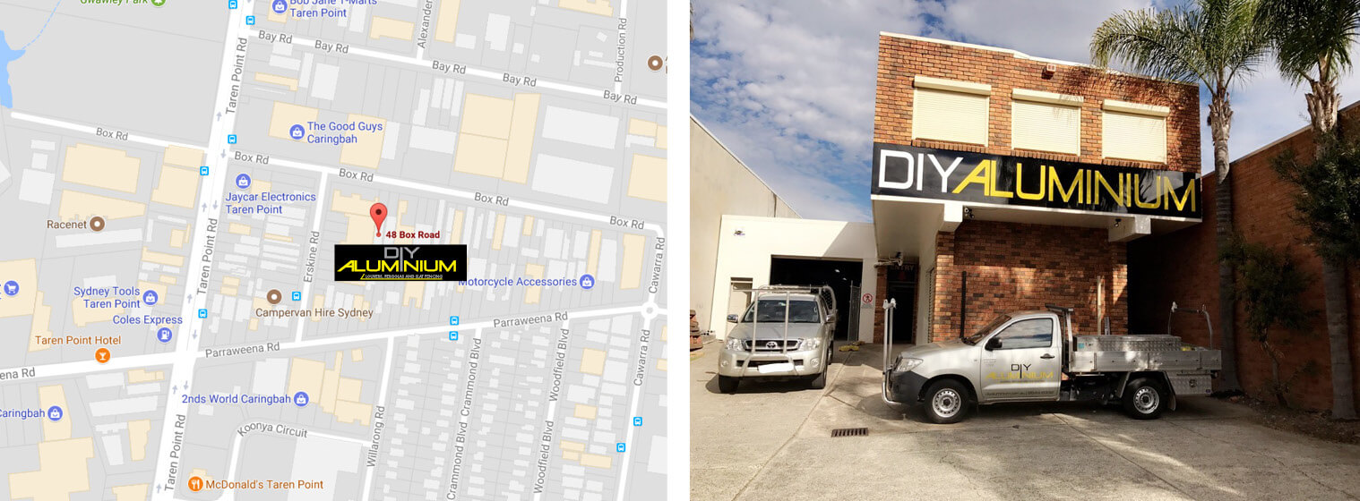 Location Map and showroom exterior